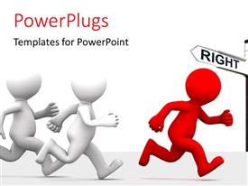 PowerPlugs: PowerPoint template with three figures running with signs in background