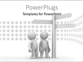 PowerPlugs: PowerPoint template with two persons confused due to the various street signs