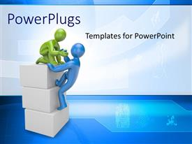 Amazing PPT theme consisting of two persons helping each other with bluish background