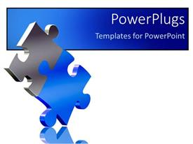 PowerPlugs: PowerPoint template with two pieces of puzzle come together as a solution metaphor on a white background