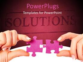 PowerPlugs: PowerPoint template with two pieces of puzzle with the word solutions written in the background