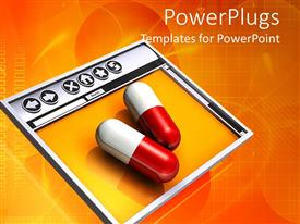 PowerPoint template displaying two pills on Internet browser, online pharmacy