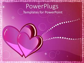PowerPlugs: PowerPoint template with two pink hearts in elegant pink background with white stars