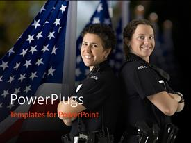 PowerPoint template displaying two police officers with backs against each other and American flag in background