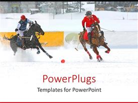 PowerPlugs: PowerPoint template with two polo players playing a game on white snow