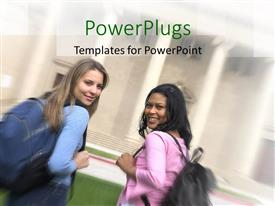 PowerPlugs: PowerPoint template with two pretty female students smiling and carrying school bags