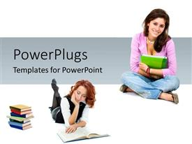 PowerPlugs: PowerPoint template with two pretty ladies reading books and smiling with a pile of books beside them