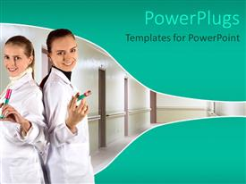 PowerPlugs: PowerPoint template with two pretty nurses holding injections in an hospital setting