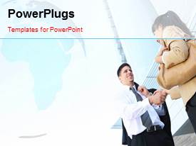 PowerPlugs: PowerPoint template with two professionals with a bluish background