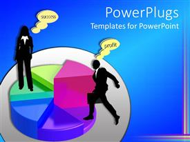PowerPlugs: PowerPoint template with two professionals with a bluish background and a pie chart