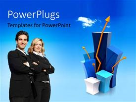 PowerPlugs: PowerPoint template with two professionals with bluish background and place for text