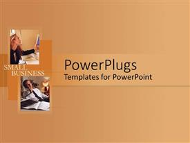 PowerPlugs: PowerPoint template with two professionals on call with skin color background