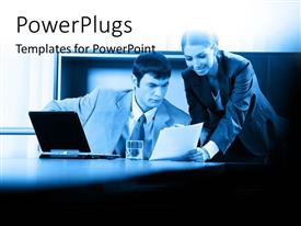 PowerPlugs: PowerPoint template with two professionals discussing over document with glass of water and laptop on desk