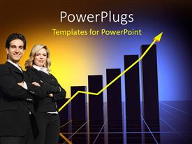 PowerPoint template displaying two professionals with growth table in the background