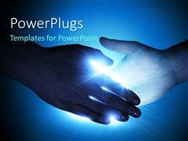 PowerPlugs: PowerPoint template with a handshake with a lot of light
