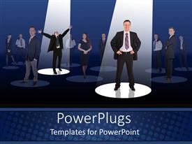 PowerPoint template displaying two professionals in the limelight with others in the background