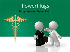 Presentation featuring two professionals with a medical sign and greenish background