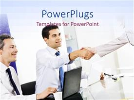 PowerPlugs: PowerPoint template with two professionals with an office in the background