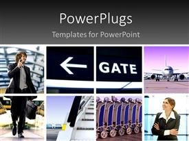 PowerPlugs: PowerPoint template with two professionals with the pictures related to air travelling