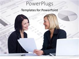 PowerPlugs: PowerPoint template with two professionals with a pie chart in the background