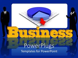 PowerPlugs: PowerPoint template with two professionals with pie chart in the background