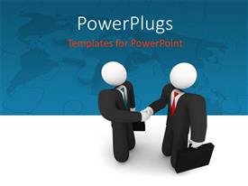 PowerPlugs: PowerPoint template with two professionals shaking their hands with map in the background