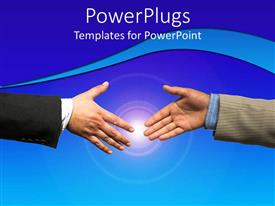 PowerPoint template displaying two professionals trying to shake their hand with bluish background