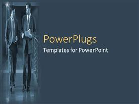 PowerPlugs: PowerPoint template with two professionals walking inside their office
