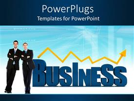 PowerPoint template displaying two professionals with the word business in their background