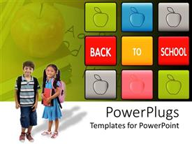 PowerPoint template displaying two pupils, boy and girl with schoolbags and books, colorful blocks with apples and back to school words