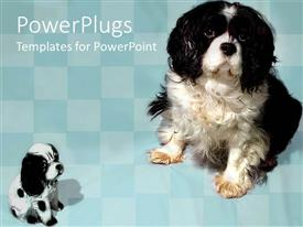 PowerPlugs: PowerPoint template with two puppies together with boxes in the background