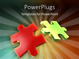 PowerPlugs: PowerPoint template with two puzzle pieces with some back-lighting creating beautiful light rays