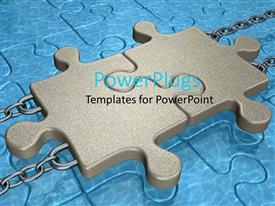 PowerPoint template displaying two puzzle pieces joined together attached with chains