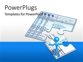 PowerPlugs: PowerPoint template with two puzzle pieces with a white and blue bckground