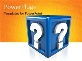 PowerPlugs: PowerPoint template with two question mark on a 3d blue cube with orange color