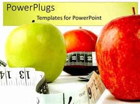 PowerPoint template displaying two red apples and green apple with measuring tape