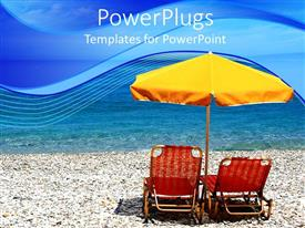 PowerPoint template displaying two red beach chairs and a yellow umbrella on a beach