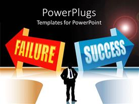 PowerPlugs: PowerPoint template with two red and blue colored arrows with a business man