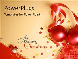 PowerPlugs: PowerPoint template with two red colored Christmas balls with ribbons on them