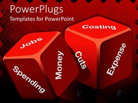 PowerPoint template displaying two red cubes with spending inscriptions, costing, expense, cuts