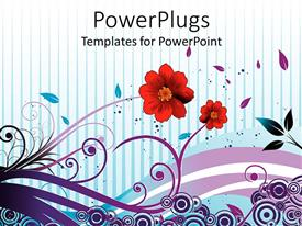 PowerPoint template displaying two red flowers with abstract style stems, leaves, and circles on blue striped background