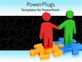 PowerPlugs: PowerPoint template with two red and green figures on two puzzle pieces