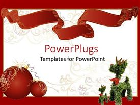 PowerPlugs: PowerPoint template with two red shinning christmas balls beside a christmas tree toy