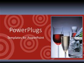 PowerPoint template displaying two red and white wine glsses on a red background
