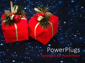 PowerPlugs: PowerPoint template with two red wrapped gifts with Christmas ornaments on them