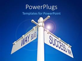 PowerPlugs: PowerPoint template with two road signs with bluish background and place for text