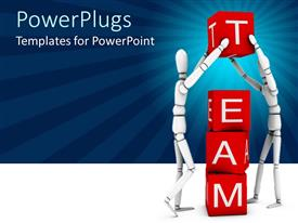 PowerPoint template displaying two robots creating the word team with the boxes