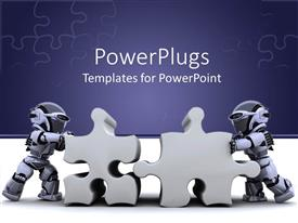 PowerPoint template displaying two robots holding jigsaw puzzle pieces on jigsaw puzzle purple and white background