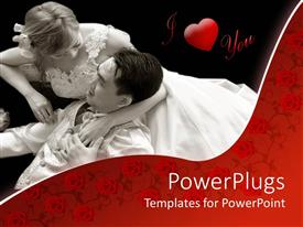 PowerPoint template displaying two romantic lovers in white on a black background