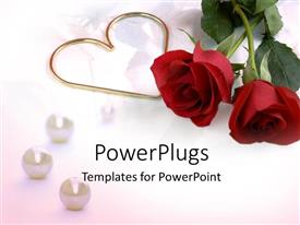 PowerPoint template displaying two roses with a heart symbol on a plain white surface